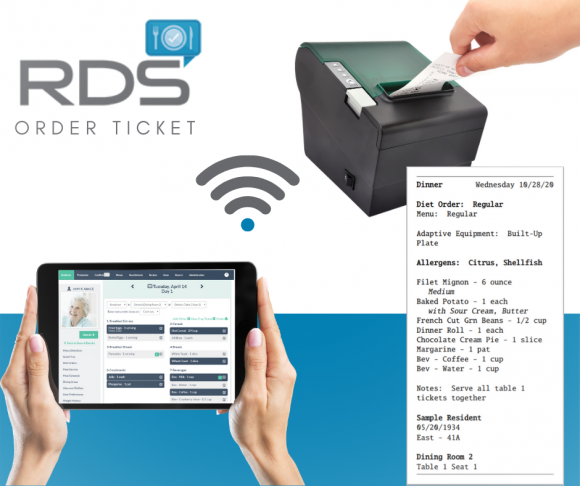 Senior Living Long Term Care Foodservice Software Tray Card RDS